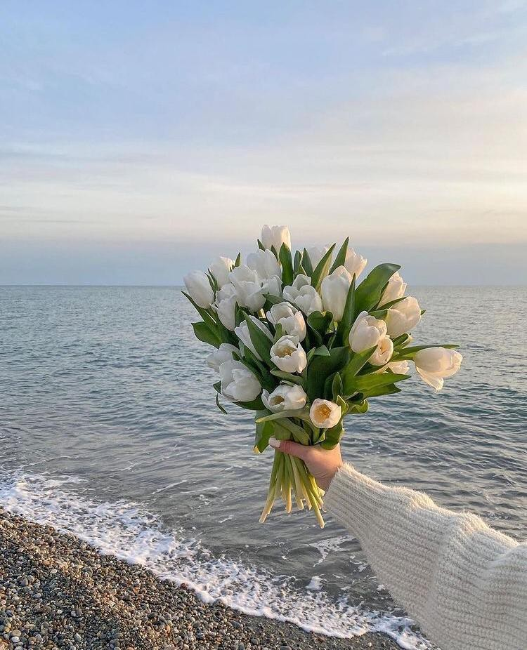 flowers, sea, and girl image