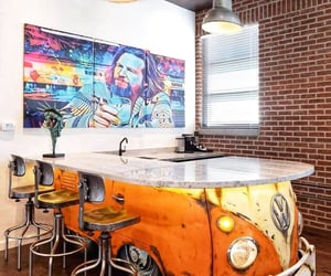 interior decoration, vw bus, and The Dude image