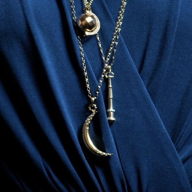 blue, moon, and necklace image