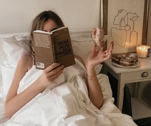 bed, books, and morning image