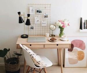breakfast, desk, and flowers image