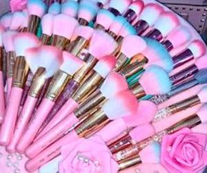 makeup, pink, and makeupbrushes image