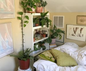 bedroom, plants, and interior image
