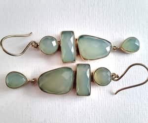 dangles, gemstone earrings, and long gold tone image