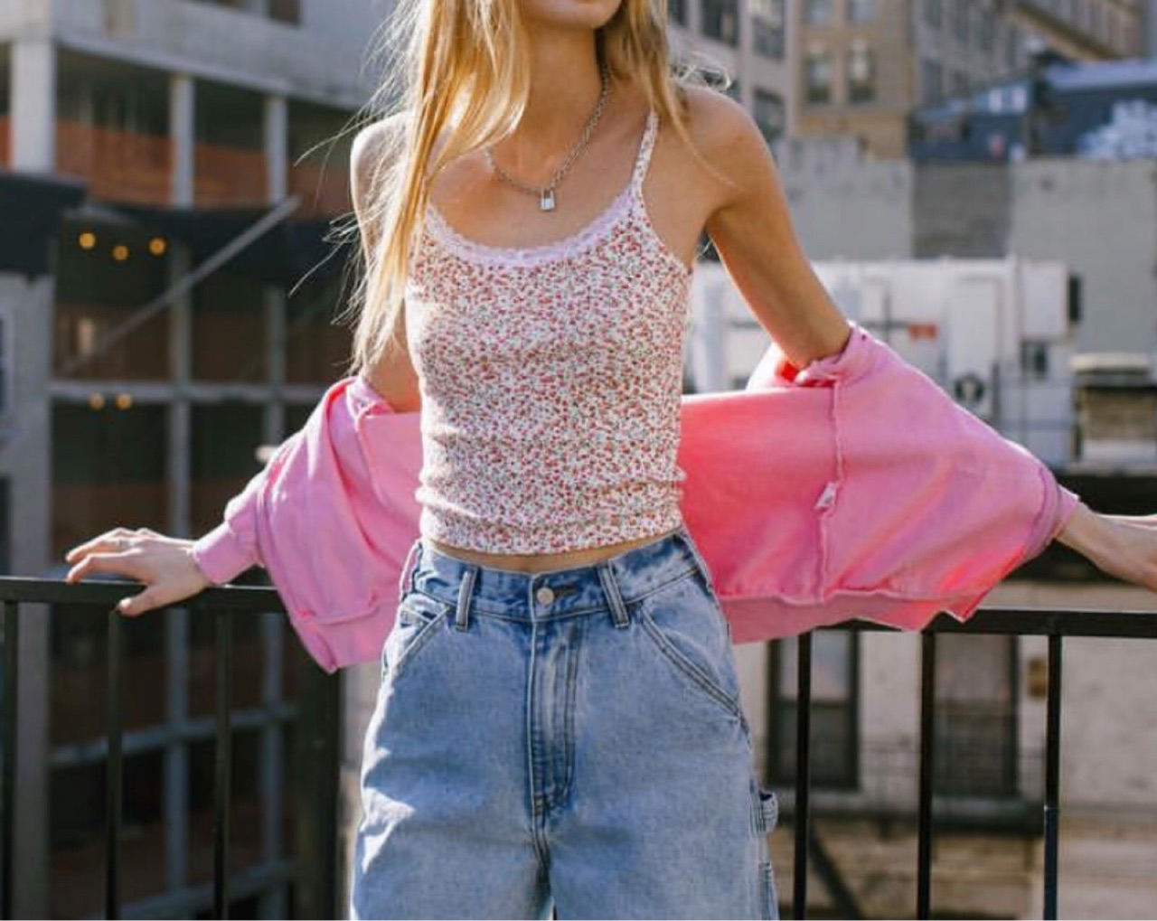 blonde, jeans, and pink image
