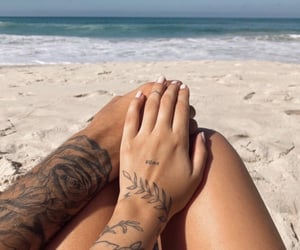 beach, romantic, and couples image