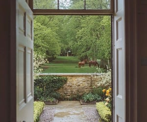 garden, horse, and cottage image