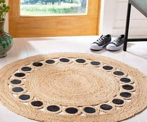 etsy, braided area rug, and 4 feet round carpet image