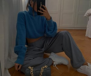 blogger, blue sweater, and bottega veneta image