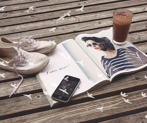 magazine, iphone, and shoes image
