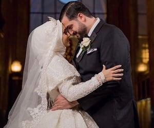hijab, couple, and wedding photography image