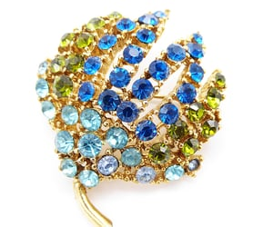 blue and green, rhinestone brooch, and 21vintagestreet image
