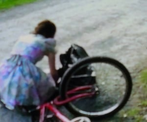 bicycle, ellen page, and floral dress image