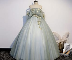 ball gown, rhinestone, and off-the-shoulder image