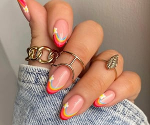nails, rainbow, and fashion image