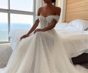 lace, long, and wedding image