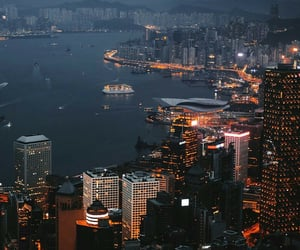 city, night, and hong kong image