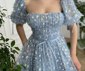 blue, dress, and daisy image