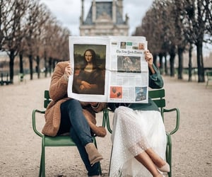 couple, france, and newspaper image