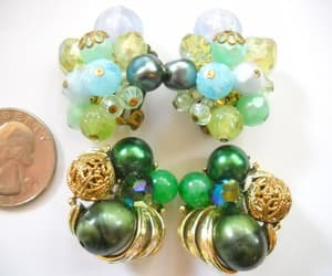 etsy, vintage earrings, and crystal plastic image