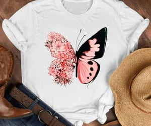 butterfly, flowers, and comforttees image