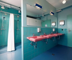 bathroom, blue, and turquoise image