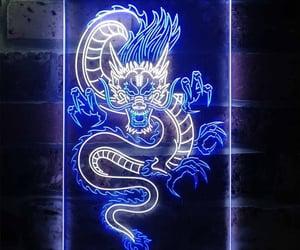 dragon, neon, and neon lights image