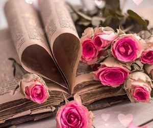 book, flower, and petal image