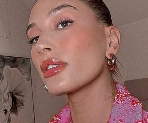 makeup, pink, and hailey bieber image