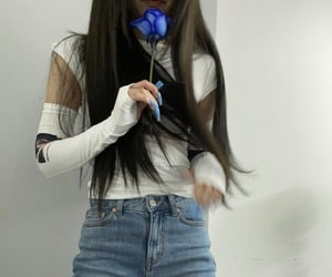 blue flowers, girls, and looks image