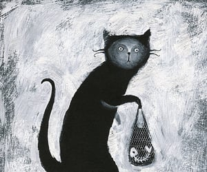 art, black and white, and black cat image