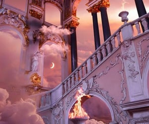 clouds, paradise, and mansion image