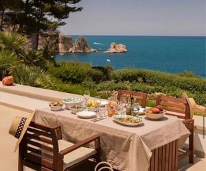 dinner, ocean, and places image