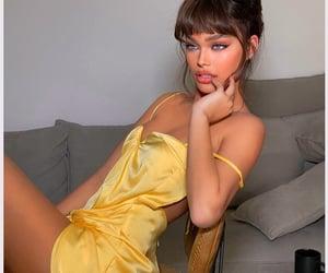 bangs, blue eyes, and dress image