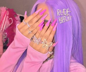 aesthetic, pink, and purple hair image