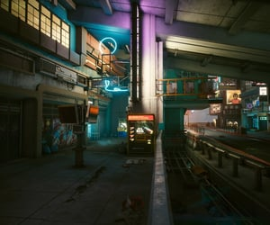 deserted, urban, and night city image
