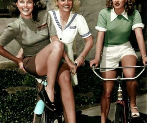bicycle, girls, and vintage image