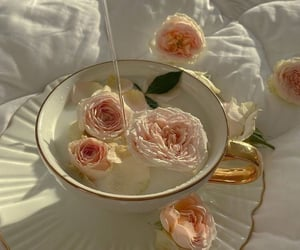 tea, rose, and aesthetic image