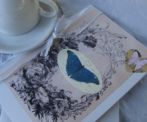 butterfly, card, and roses image