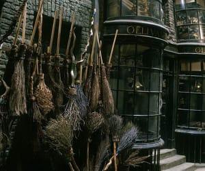 harry potter, hogwarts, and broom image
