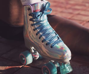 shiny, holographic, and roller skates image