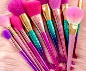makeupbrushes, pinkbrushes, and mermaidbrushes image