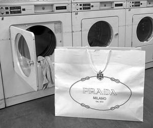 black and white, chic, and laundry image