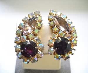 rhinestone earrings, cluster earrings, and aurora borealis image