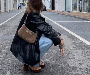 black leather jacket, heels shoes, and everyday look image