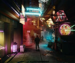 alley, city, and cyberpunk image