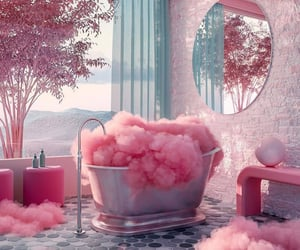 pink, clouds, and bath image