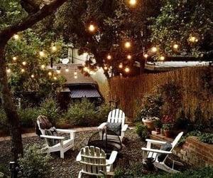 backyard, lights, and spring image