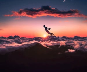 dreamy, Flying, and sunset image