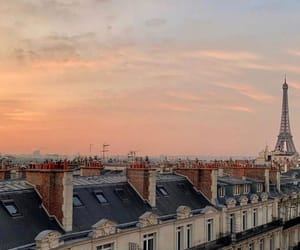 paris, sunset, and eiffel tower image